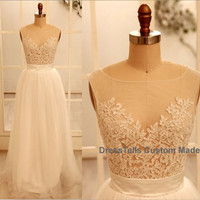 Lace Wedding gown - Ivory wedding dresses / custom made Wedding Dresses / Ivory Bridal Dress / Wedding Gown