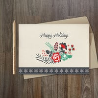 Happy Holidays Card Printable, Digital file, 5x7, Instant Download - Floral Christmas Card