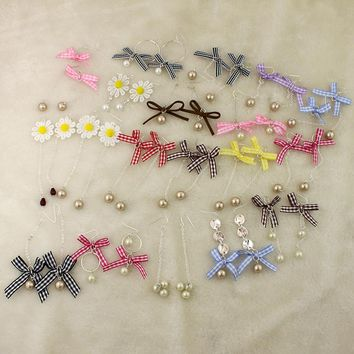 Korean version of the trend of fresh bow earrings lace rope pearl earrings girls specials beautiful wild earrings LJ