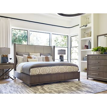 6000-4206K Highline Complete Upholstered Shelter King Bed