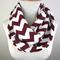 Maroon Chevron Scarf - Burgundy and White Scarf - Chevron Infinity Scarf