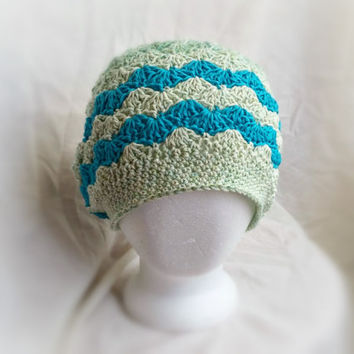 crochet slouch hat spring chevron cotton cloche hat shell fan pattern turquoise green teal lime