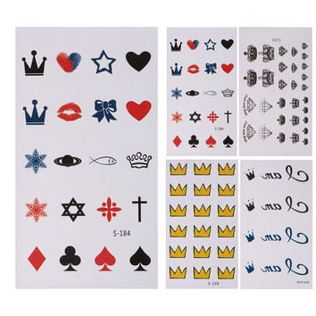 10 Sheets Fashion Temporary Tattoo Stickers Waterproof Body Art False Temporary Tattoo Sticker Yellow Crown Icon Covering Scars