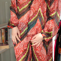 Handmade one of a kind plus size one size oversized long spring summer multicolored chiffon caftan dress
