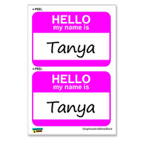 Tanya Hello My Name Is - Sheet of 2 Stickers