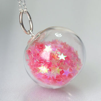 Candy pink star glitter hand blown glass ball sterling silver necklace