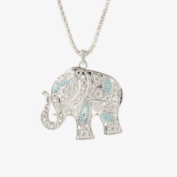 Silver elephant necklace, long necklace, indian elephant necklace, lucky elephant necklace, elephant jewelry, tirquoise necklace