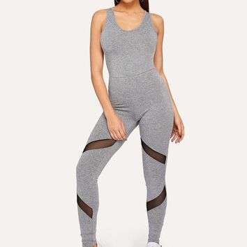 Mesh Insert Crisscross Heather Knit Unitard Jumpsuit