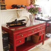 Chinese Antique Red Lacquer Desk (circa 1900)
