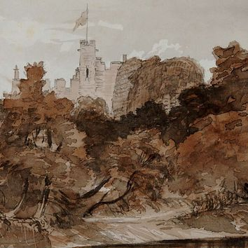 1871 Bothal Castle Watercolor Study Painting
