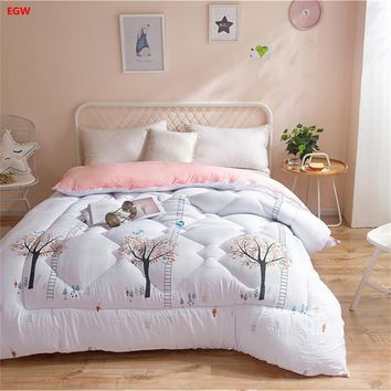Winter quilt tree printed comforter full queen size 150*200cm 200*230cm double bed polyester Autumn feather patchwork blue gray