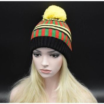 2017 Winter New Style Girl Hats Mixed Color Striped Knitted Warm Skullies Beanies Women New Fashion Hat with ball Winter caps
