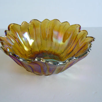 Vintage Carnival Glass Bowl Amber Colored