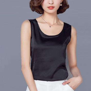 Women Summer Imitation Silk Tank Top Sleeveless Blouse Shirt Casual Loose Sexy Tops 2XL Female Vest Clothing red black white