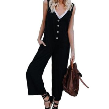 New Summer Ladies Casual V neck Overalls Buttons Decorated Suspender Trousers Jumpsuit