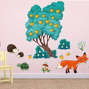 kcik1660 Full Color Wall decal bedroom children's room decor Custom Baby Nursery on bed baby tree nusery decal tree forest animals