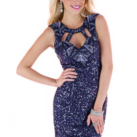 Scala 48364 - Navy Cut Out Sequin Short Homecoming Dresses Online