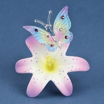 Glass Baron Butterfly And Lavender Lily Glass Figurine