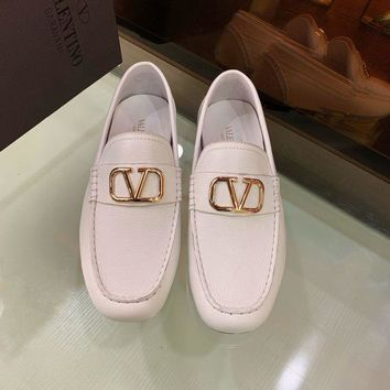 DCCK Valentino Men's Leather VLOGO Loafers Shoes