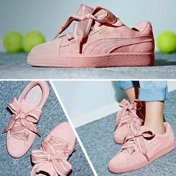 Best Deal Puma Suede Heart Satin II Bow tie Sneakers Women Fashion shoes 364084-03