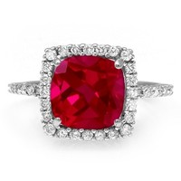 Jared - 1/8 Ct. tw Diamond Lab-Created Ruby Ring Sterling Silver