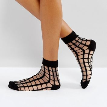 ASOS Sheer Grid Ankle Socks at asos.com