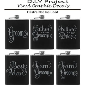Wedding (Groom, Best Man, Team Groom, Father Of The Bride, Father Of The Groom). Set of 6 Vinyl Graphic Decals