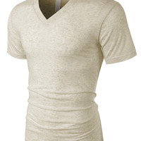 LE3NO PREMIUM Mens Classic Relaxed Fit Short Sleeve V Neck Tee