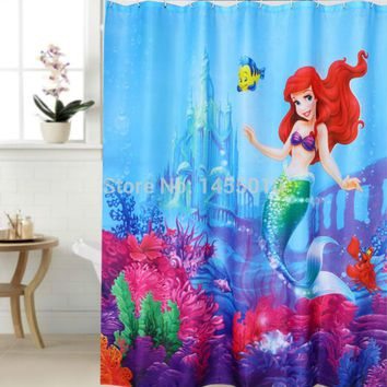 Polyester Terylene Mermaid and Yellow Fish Sea Waterproof Thicken Shower Curtain, 180 Cm * 180 Cm
