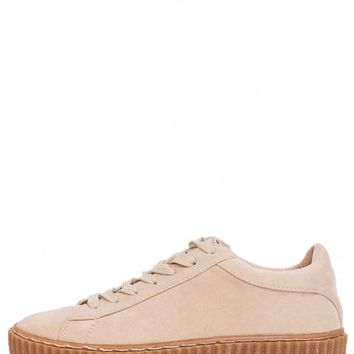JUMP AROUND NUDE FAUX SUEDE CREEPERS