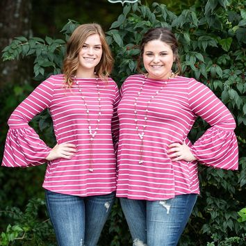 Magenta Striped Bell Sleeve Top