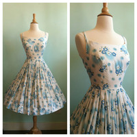 Beautiful Blue Floral Cotton Day Party Dress / 1950s 1960s Vintage / Small / Size 4