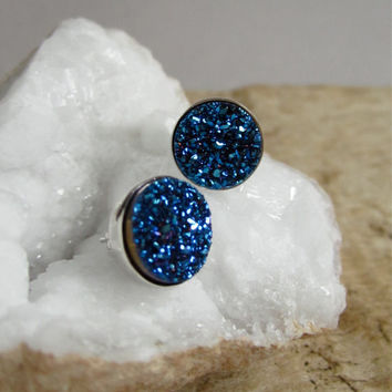 Druzy Stud Earrings Drusy Quartz Rhodium Plated Sterling Silver Bezel Set