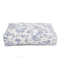 Toile Rectangle Dog Bed | Blue