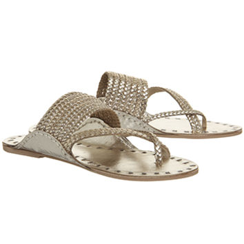 Office Salutation Opanca Sandals Gold Plaited Leather - Sandals