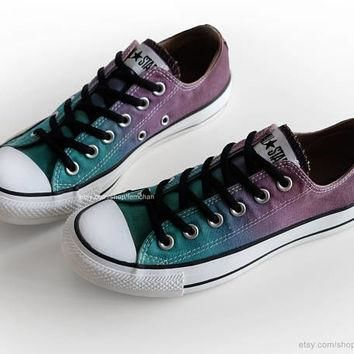 Ombr¨¦ dip dye Converse, green turquoise, purple, chocolate brown, low tops, upcycled s