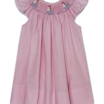 Smocked Sailboat Pink Dress