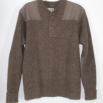 L.L. Bean Commando Henley Wool Sweater Mens Large Reg Shoulder Elbow Patch