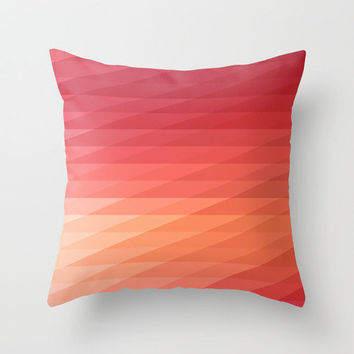 "16""x16"" Coral Pink & Peach Geometric Striped Throw Pillow COVER ONLY"