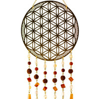 Self-Realization Vibe Catcher, Crystal Wall Hanging, Flower of Life Dream Catcher, Meditation Tool, Spiritual Art, Sacred Geometry Mobile