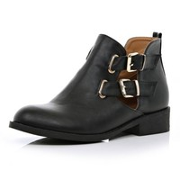 Black cut out buckle side Chelsea boots - ankle boots - shoes / boots - women