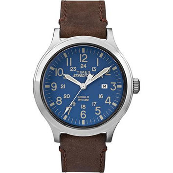 Timex Expedition&reg Scout 43 Watch - Blue Dial/Brown Leather