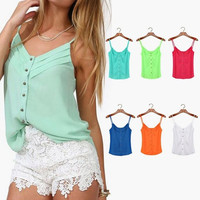 2015 Spring summer Women Blouse Candy Color Lady Shirts Sexy Chiffon Blouse Spagetti Strap Vest Tops = 1958503812