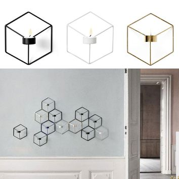 Nordic Style Wall Candle Holder Rack Shelf 3D Geometric Iron Metal Sconce Candlestick Bar Home Decoration Accessories