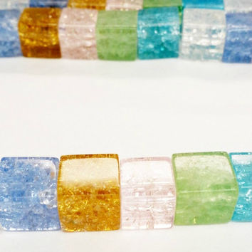 36 Crackle Glass Beads 10mm, Square Beads 10mm, Transparent Cube Beads, Multicolor Beads, Clear Crackle Beads