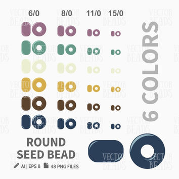 Round Seed Beads Clip Art. Seed Bead Sizes, Bead Vector Graphic, Vector illustration of beads, Bead download for commercial use