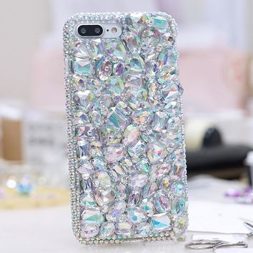 Luxury Girl Woman Lady Style Handmade 3D Diamond  Phone Cover Case For iPhone 4 4G 4S 5 5G 5S 6 6S 7 Plus Touch 5