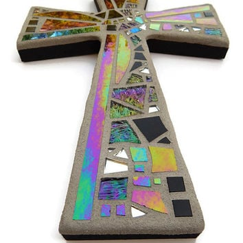 "Mosaic Wall Cross, Black + Gray with Iridescent + Textured Glass + Silver Mirror,  Handmade Stained Glass Mosaic Cross Wall Decor, 12"" x 8"""