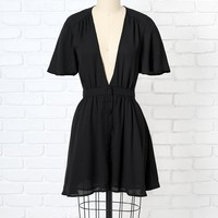 Black Chiffon Button-Up Mini Dress by NRFB