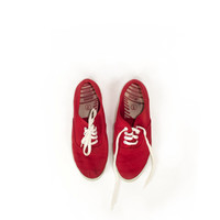 Unworn Vintage Red and White Trim and Laces Canvas Shoes / 1980s 80s Deadstock Keds Style Coasters / Womens size 6